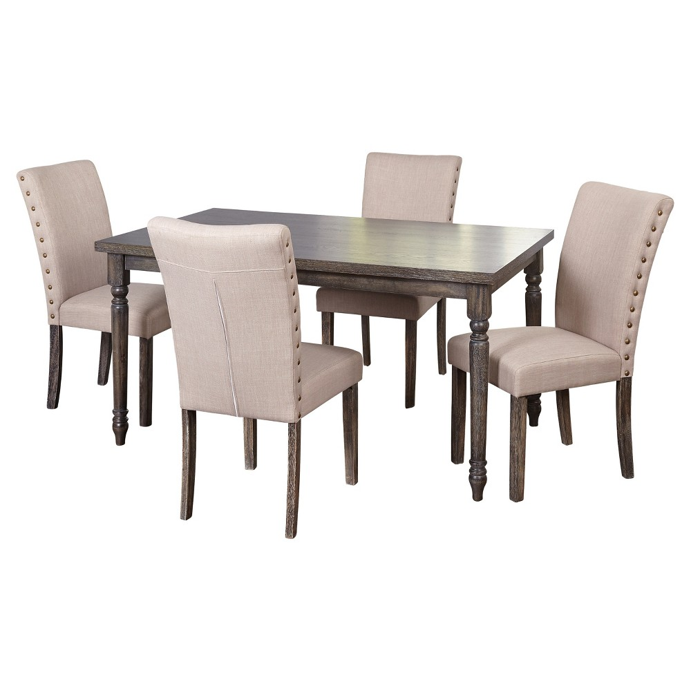 5 Piece Burntwood Parson Dining Set - Weathered Gray - Target Marketing Systems