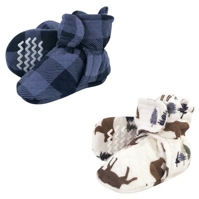 Hudson Baby Infant and Toddler Boy Quilted Booties 2pk, Moose Bear