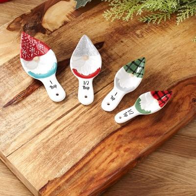 Lakeside Christmas Gnome Measuring Spoon Set - Decorative Holiday Kitchen Baking Spoons