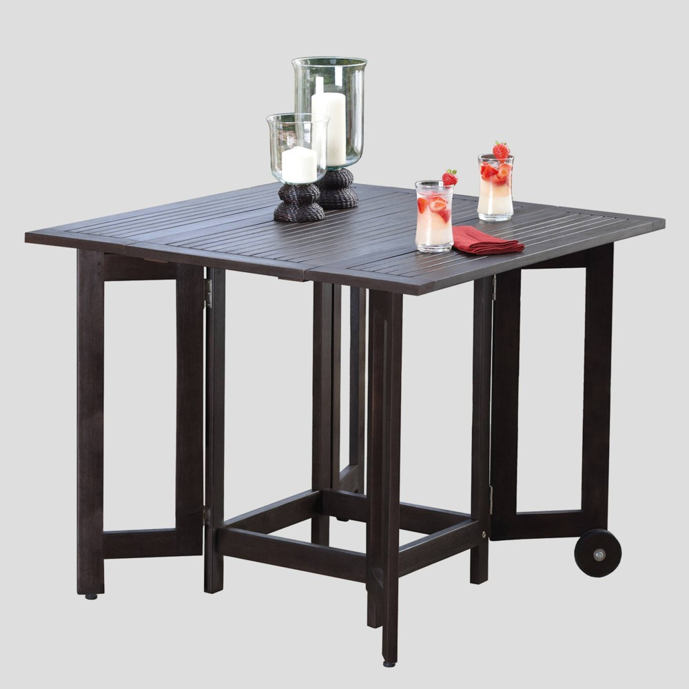 Image of Square Eucalyptus Patio Folding Table Black - Merry Products