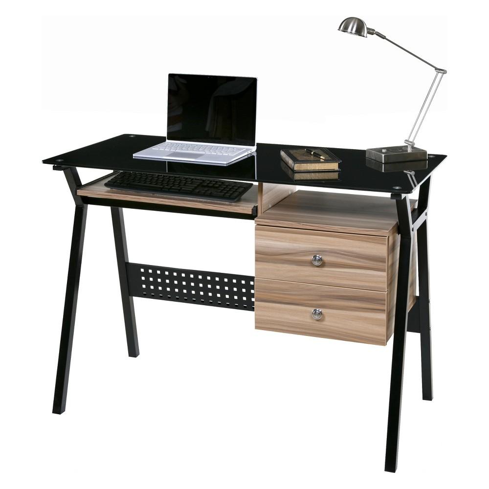 Basics Glass Desk with 2 Drawers Keyboard Tray Black/Walnut (Black/Brown) - OneSpace