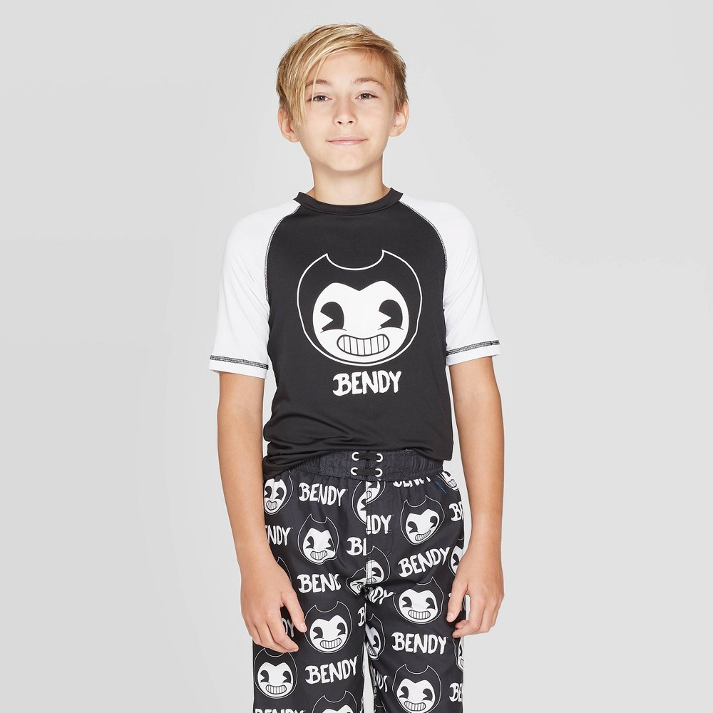 Image of Boys' Bendy And The Ink Machine Smiling Rash Guard - Black L, Boy's, Size: Large