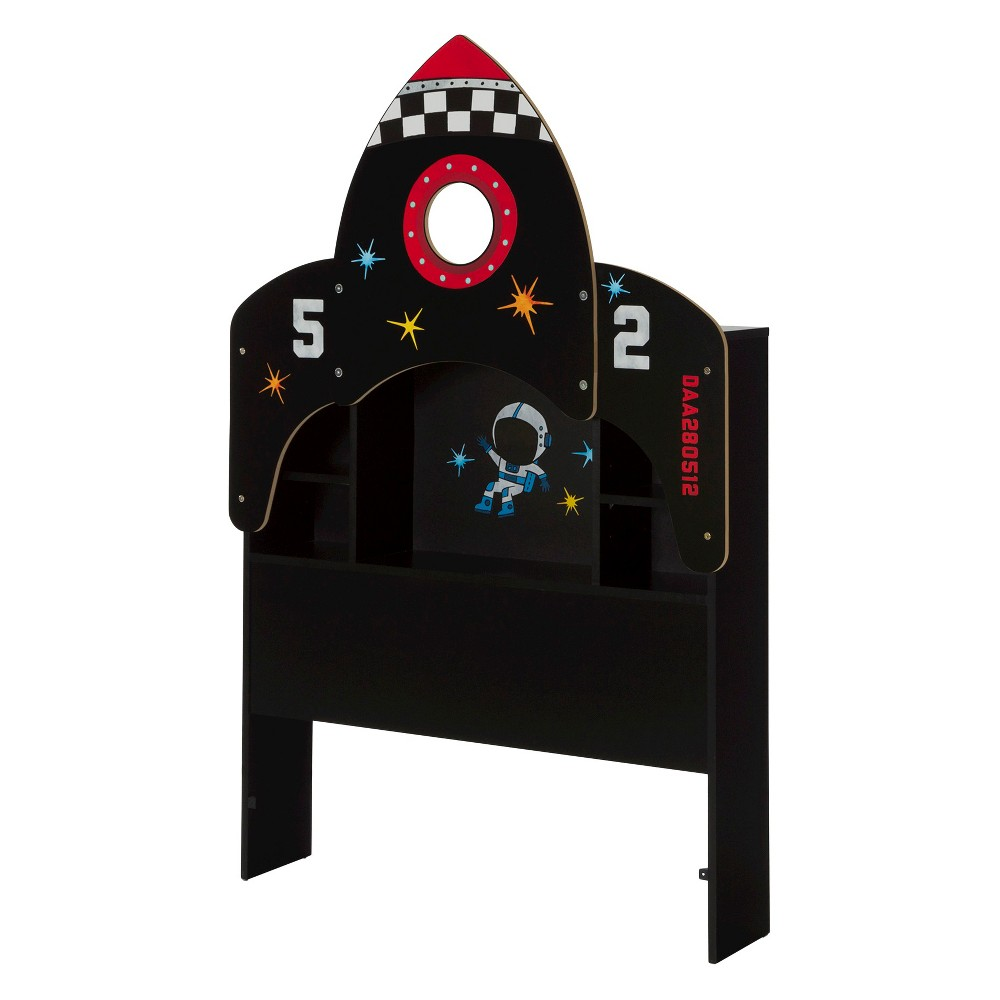 Vito Twin Bookcase Headboard with Decals, Space Rocket Themed -39''- Pure Black - South Shore