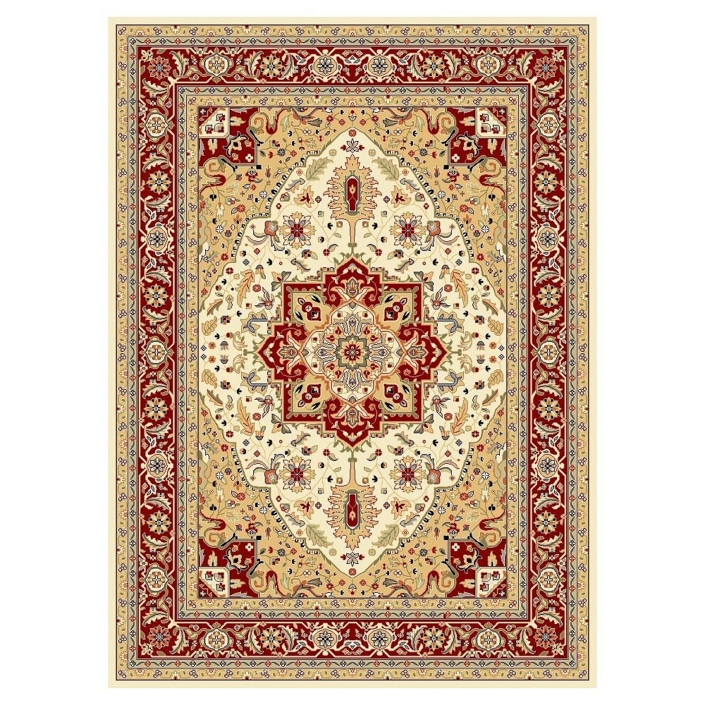 Ivory/Red Solid Loomed Area Rug - (10'X14') - Safavieh, White