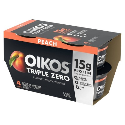Dannon Oikos Triple Zero Peach Flavored Blended Greek Yogurt - 5.3oz/4ct