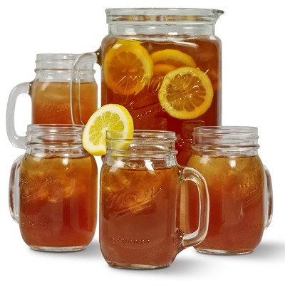 5pc Glass Beverage Pitcher and Drinkware Set - Mason Craft & More
