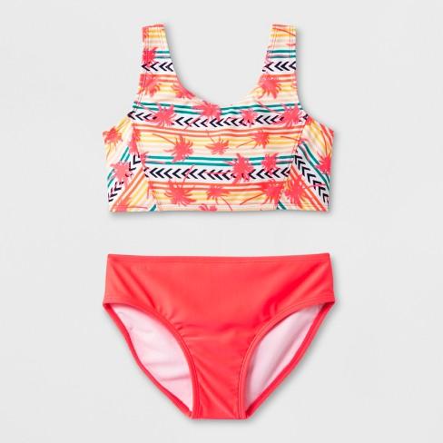 fa6c3a94335 Girls  California Palm Bikini Set - Art Class™ Coral   Target