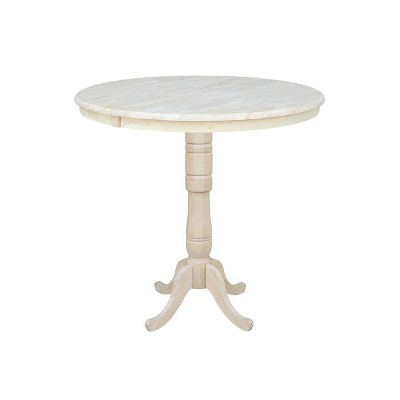 """36"""" Round Extendable Table with 12"""" Drop Leaf Unfinished - International Concepts"""