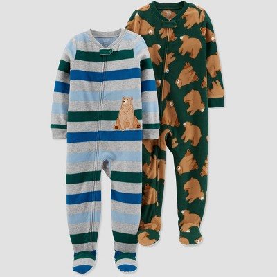 Baby Boys' 2pk Bear Footed Pajama - Just One You® made by carter's Blue 9M