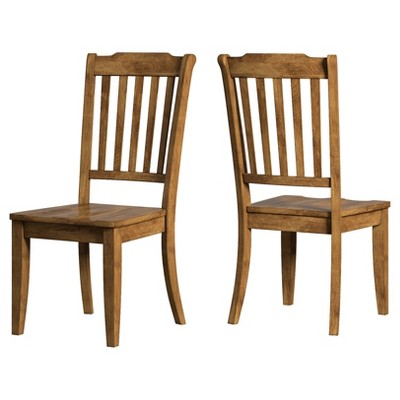 Set of 2 South Hill Slat Back Dining Chair Oak - Inspire Q