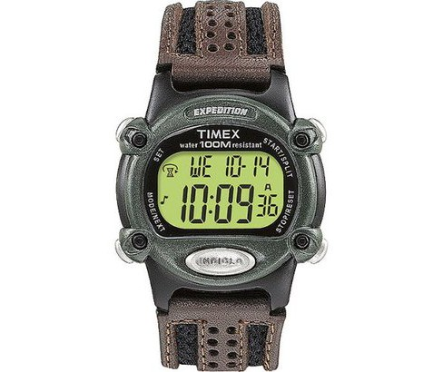 Men's Timex Expedition® Digital Watch with Nylon/Leather Strap - Black/Brown T48042JT - image 1 of 5
