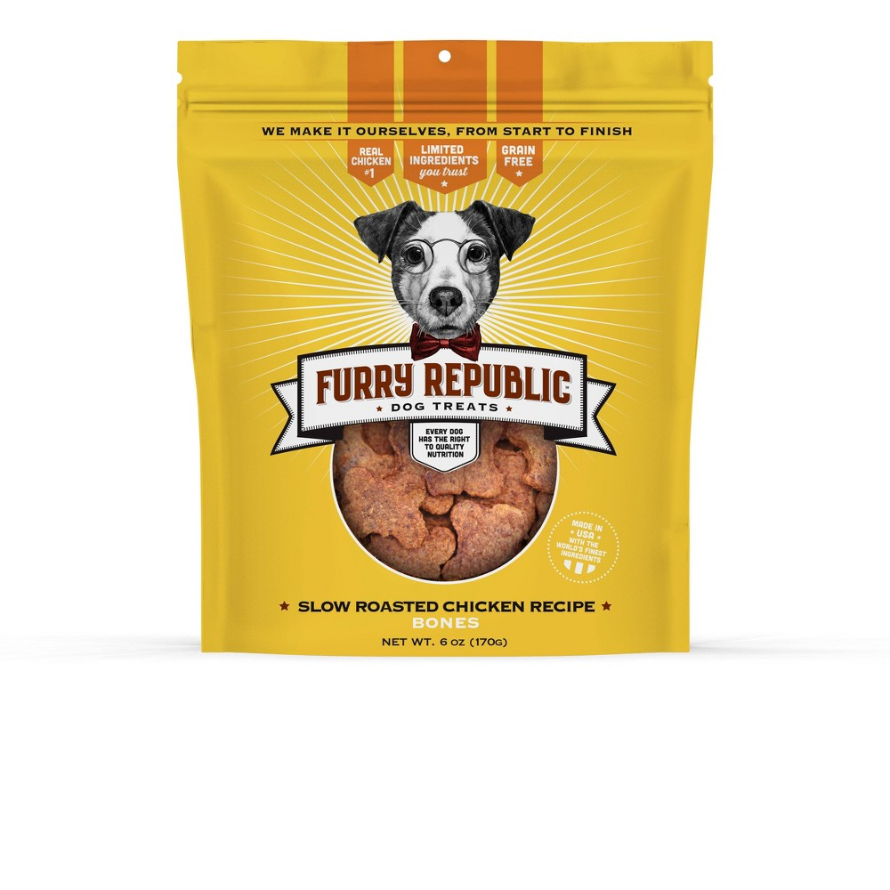 Furry Republic Bones Slow Roasted Chicken Recipe Dog Treats 6oz Bag