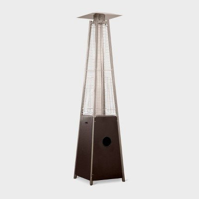 Hammered Metal Tall Glass Tube Portable Patio Heater - Golden Bronze - AZ Patio Heaters