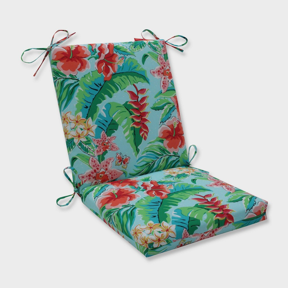 Tropical Paradise Squared Corners Outdoor Chair Cushion Blue - Pillow Perfect