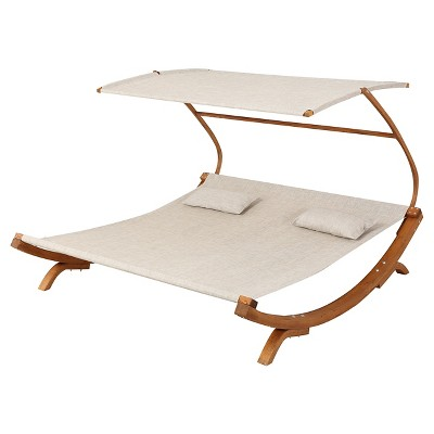 San Juan Larch Wood Sunbed with Adjustable Canopy - Teak - Christopher Knight Home