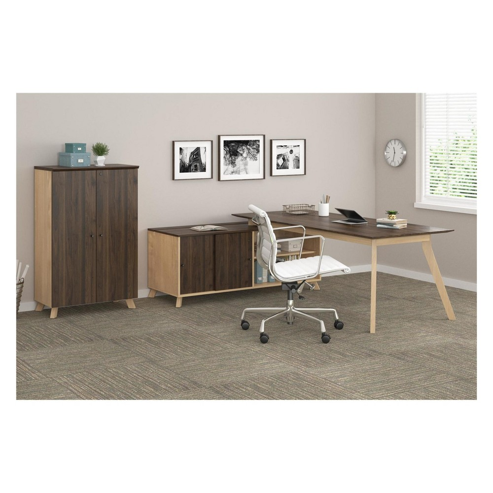 Executive Desk And Storage Cabinet Bundle Walnut (Brown) - Ameriwood Home