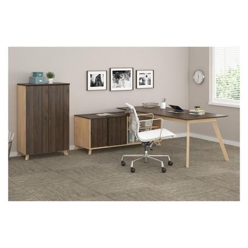Executive Desk And Storage Cabinet Bundle Walnut Ameriwood Home Target