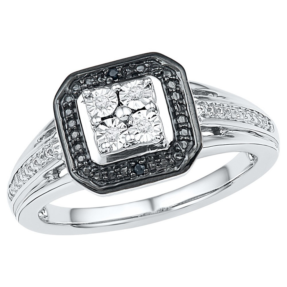 Women's Black & White Diamond Accent Prong/Miracle Set Fashion Ring in Sterling Silver (Size 5.5)
