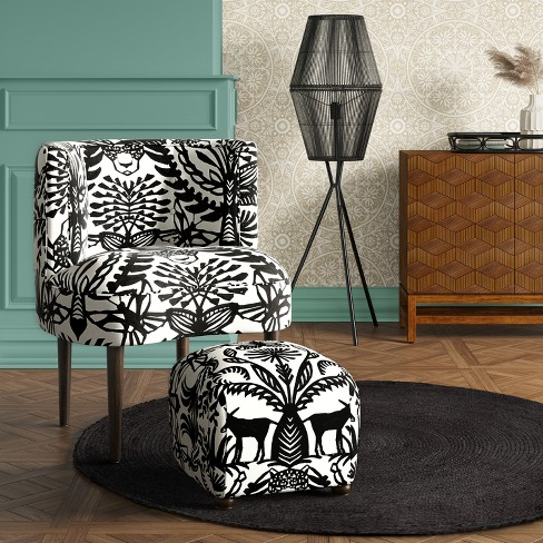 Clary Curved Back Accent Chair Blackwhite Animal Print Opalhouse