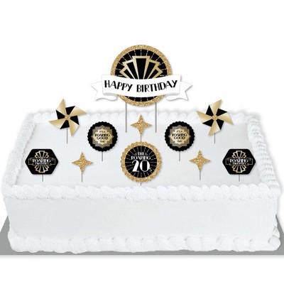 Big Dot of Happiness Roaring 20's - 1920s Art Deco Jazz Birthday Party Cake Decorating Kit - Happy Birthday Cake Topper Set - 11 Pieces