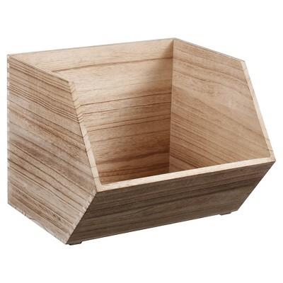 Large Stackable Wood Bin Natural   Pillowfort™