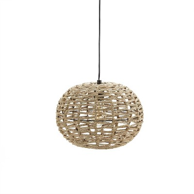"10""Geoffrey Weave Silverwood Pendant Light Brown - Decor Therapy"