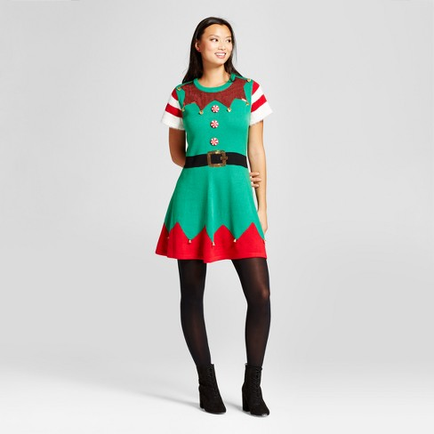 169849baae07 Women's Sequin Elf Ugly Christmas Sweater Dress - 33 Degrees Green M ...