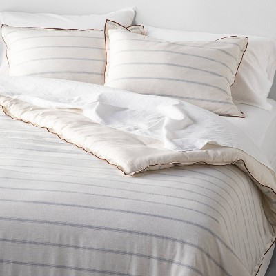 Tick Stripe with Contrast Hem Comforter & Sham Set Light Blue - Hearth & Hand™ with Magnolia