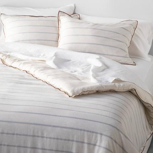 Tick Stripe with Contrast Hem Comforter & Sham Set Light Blue - Hearth & Hand™ with Magnolia - image 1 of 2
