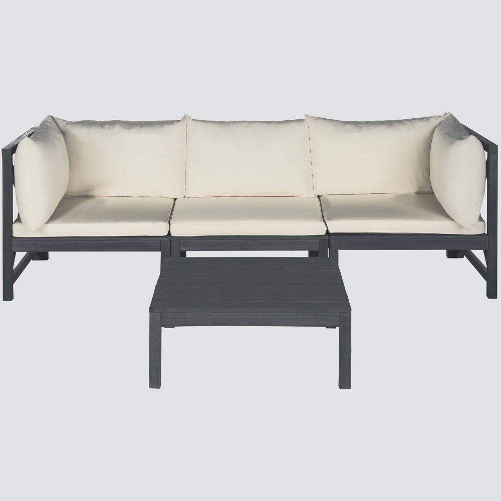 La Pelosa 4pc Wood Patio Sectional Conversation Furniture Set - Gray/Beige - Safavieh