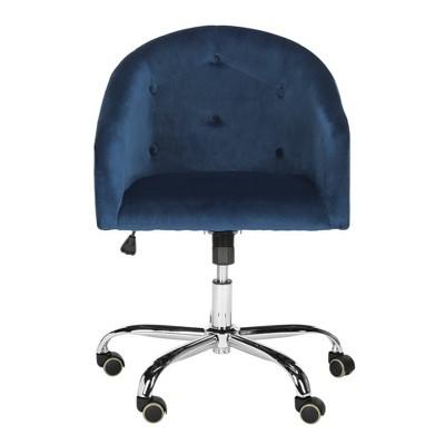 Amy Swivel Office Chair Navy/Chrome - Safavieh