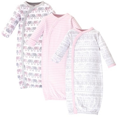 Touched by Nature Baby Girl Organic Cotton Kimono Long-Sleeve Gowns 3pk, Pink Gray Elephant, 0-6 Months