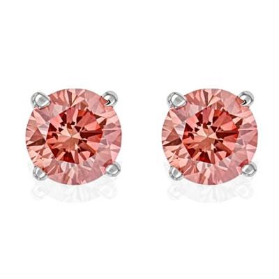 Pompeii3 3/8Ct Pink Lab Created Diamond Screw Back Studs Earrings 14K White Gold