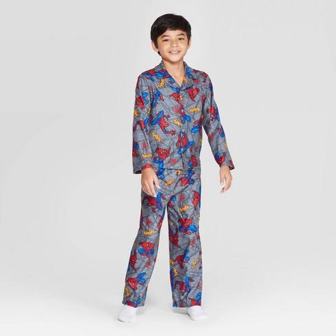 Boys' Spider-Man 2pc Coat Pajama Set - Gray - image 1 of 3