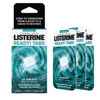 Listerine Ready! Tabs Chewable Tablets with Clean Mint Flavor - 24ct