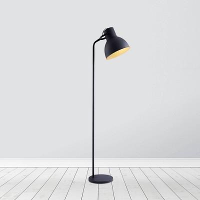 "70.8"" Erin Metal Floor Lamp with Adjustable Shade Black - Teamson Home"