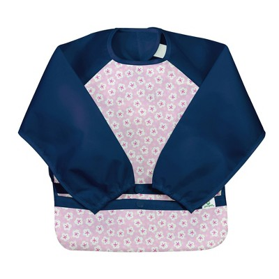 green sprouts Snap & Go Easy-wear Long Sleeve Bib - Pink Blossom - 12/24 Months
