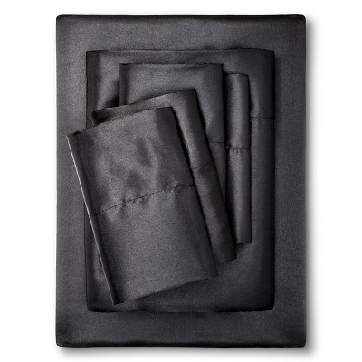 King Solid Satin 6pc Wrinkle Free Luxurious Sheet Set Black