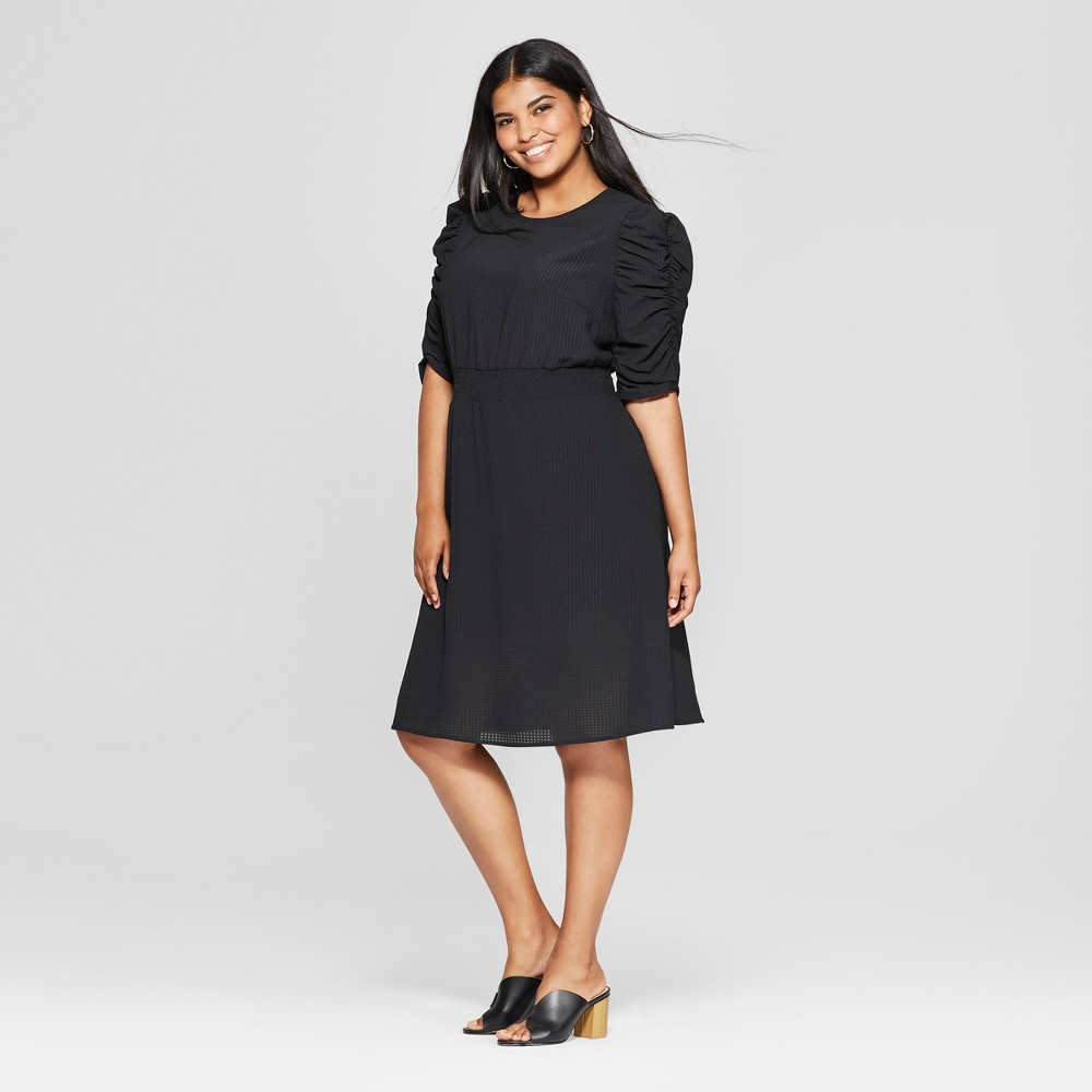 Women's Plus Size Smocked Waist Dress - Who What Wear Black 4X was $34.99 now $15.74 (55.0% off)