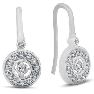 """Pompeii3 1/3ct Pave Diamond Vintage Halo Earrings 10K White Gold 1/2"""" Tall"""