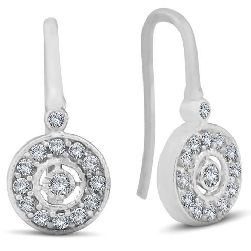 "Pompeii3 1/3ct Pave Diamond Vintage Halo Earrings 10K White Gold 1/2"" Tall - image 1 of 3"