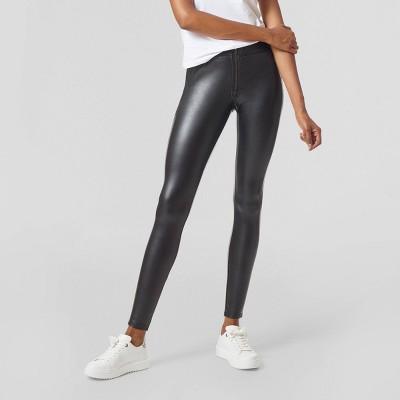 Hue Studio Women's Mid-Rise Zip Front Faux Leather Leggings - Black