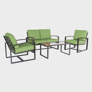 Jasper 4pc Metal Patio Seating Set - Brown/Green - Leisure Made
