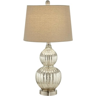 Regency Hill Cottage Table Lamp Silver Mercury Glass Fluted Double Gourd Beige Tapered Drum Shade for Living Room Family Bedroom