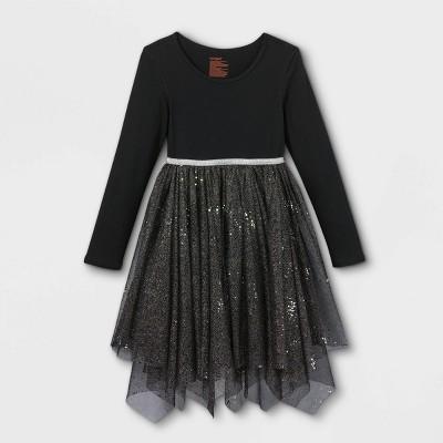 Girls' Adaptive Abdominal Access Halloween Dress - Cat & Jack™ Black