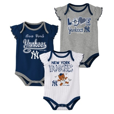 New York Yankees Baby Girls' 3pk Flutter Short Sleeve Bodysuits - 6-9 M