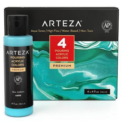 Arteza Acrylic Pouring Paint Kit, 120 ml Bottle Set, Aqua Tones - 4 Pack (ARTZ-2851)