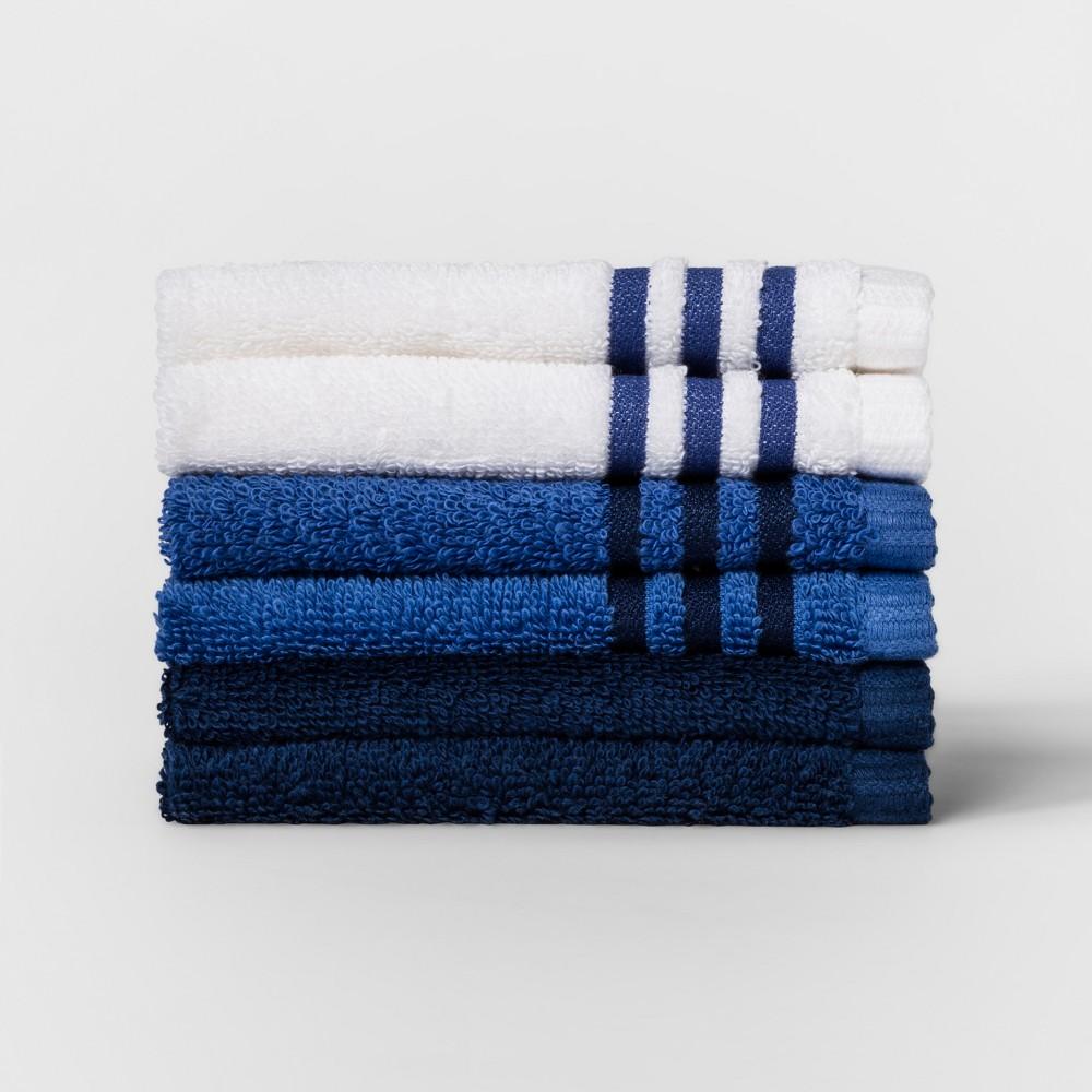 6pk Solid Washcloth Sets Glisten Blue - Room Essentials