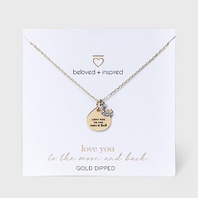 Beloved + Inspired Gold 'To The Moon and Back' Disc Chain Necklace - Gold