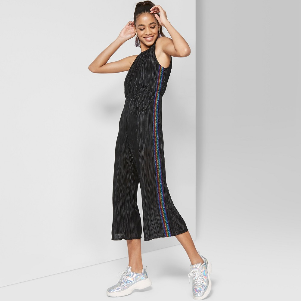 Women's Sleeveless Bodre Jumpsuit with Lurex Tape - Wild Fable Black XS